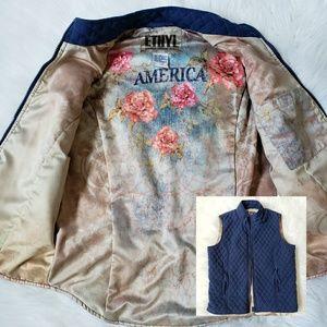 Ethyl America Vest Jacket navy blue SM quilted